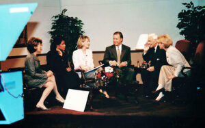 Fall of 2000. Syracuse news anchors: Carrie Lazarus, Jackie Robinson, Maureen Green, Matt Mulcahy, Ron Curtis and Liz Ayers gather for the retirement of anchor Ron Curtis (WTVH).