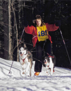 Betsy Waterman of Sandy Creek skijoring with her husky Ichabod, and her border collie, Casper.