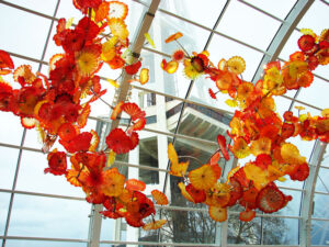 The 40-foot tall glasshouse in the Chihuly Garden of Glass, a place that features the work by Dale Chihuly.