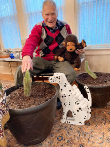 My pets over the years have been a wooden Dalmatian named Spot, a stuffed monkey named Bobo, and two saguaro cactus plants named Spike 1 and Spike 2.