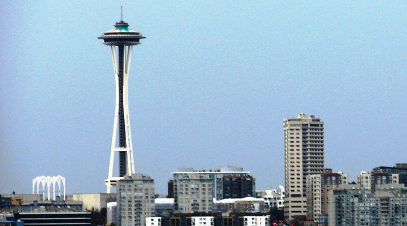 Space Needle, an iconic image of Seattle, seen from a boat tour.