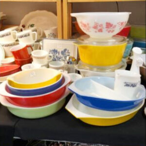 Some Pyrex items available at Antique Underground. The store, which opened in downtown Syracuse in November, leases space to about seven other dealers.