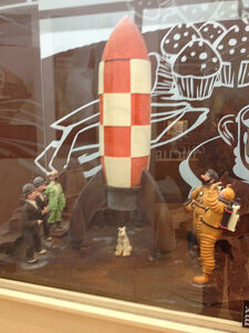 Tintin with his dog, Snowy, and Captain Haddock, prepare to board a chocolate spaceship in this photo from our 2015 visit to Barcelona's Museum of Chocolate.