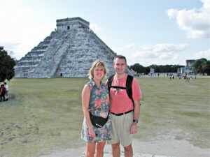 Jay LaBarge and his wife, Sandy, at Chichen Itza, Mexico, one of the inspirations for his novel, Aztec Odyssey. Photo provided