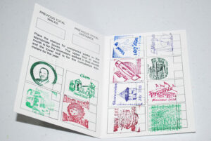 Folksmarch's passport with stamps of where the member has walked.
