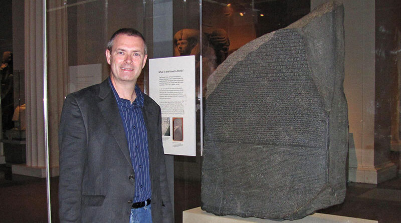 For an author who likes quests, Jay LaBarge went on a quest of his own to view the Rosetta Stone, which unlocked an ancient civilization's secrets in three ancient scripts.