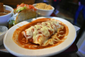 The shredded chicken-filled burrito came out coated with cheese and wading in a mild red sauce.