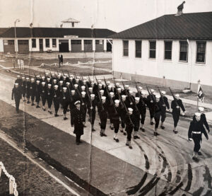 U.S. Coast Guard Reserve stationed in Cape May, New Jersey, where the author, Marvin Druger, served as company commander. He is shown in the front of the group. Photo taken around 1957. Provided by Marvin Druger.