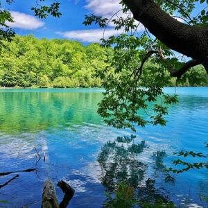 Green Lakes State Park  Two meromictic lakes make for stunning, clear-water views around these trails.