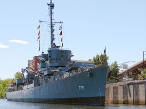 The USS Slater, a canon-class destroyer escort,is now a museum ship on the Hudson River. It is the only one of its kind afloat in the United States.