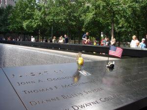 The 9/11 memorial honors the lives of those who were lost in the  World Trade Center attack.