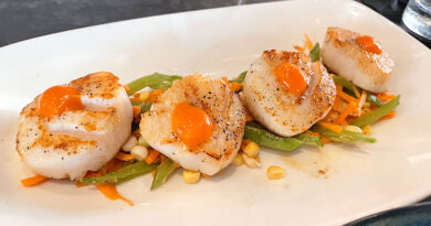 Four large diver sea scallops ($35) on a bed of slaw, featuring corn, snow peas and carrots. The quality of the entrée exceeded expectations.