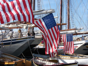"""Tall ships join up in the Atlantic Ocean. Nautically called a """"gam."""""""