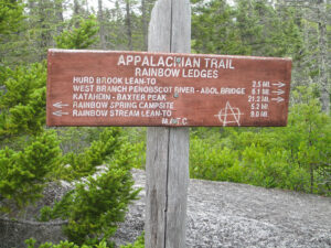 Typical sign at Rainbow Ledges in the 100 Mile Wilderness, Maine.