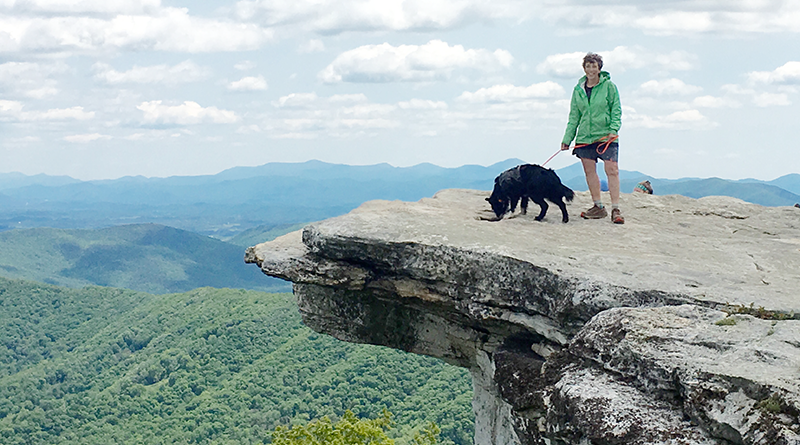 On top of Appalachian Trail's McAfee Knob on a windy chilly day.