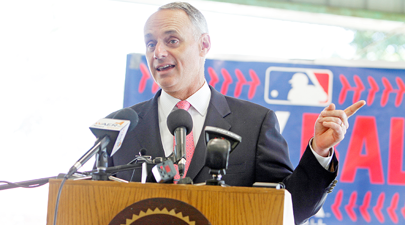 Commissioner Manfred, a Rome, N.Y. native, speaks to the media about the importance of baseball to America and its youth. Photo by Herm Card.