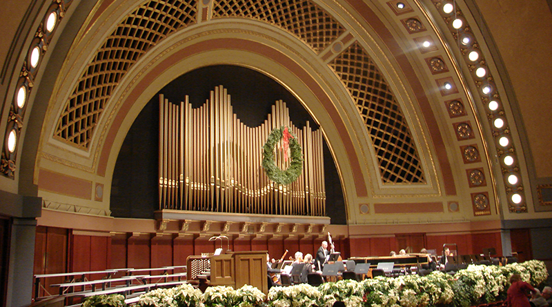 Hill Auditorium is celebrated for its perfect acoustics with the acoustically best seats in the middle of the mezzanine.