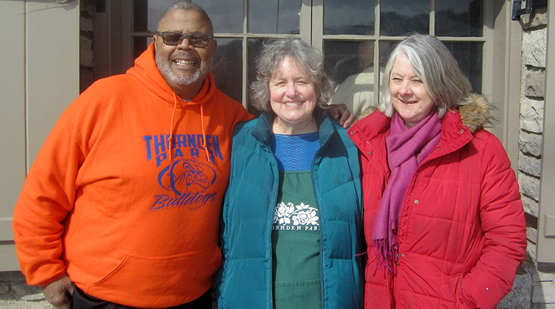 "The Thornden Park Association — whose members include, from left, Earl ""Gator"" Darisaw, Carol Simson and Miranda Hine — continues its work to restore the venerable Syracuse park to pristine condition. Hine said next on the agenda is an amphitheater, and basketball and tennis courts."