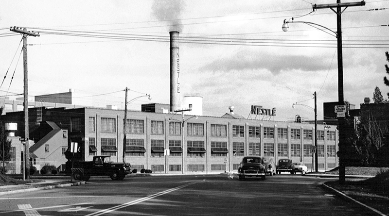 Even on dreary days, people in and around Fulton enjoyed the smell of Nestlé chocolate in the air. Fulton Nestlé archives. Reprinted from Nestlé in Fulton, New York: How Sweet It Was by Jim Farfaglia (Arcadia Publishing 2019)