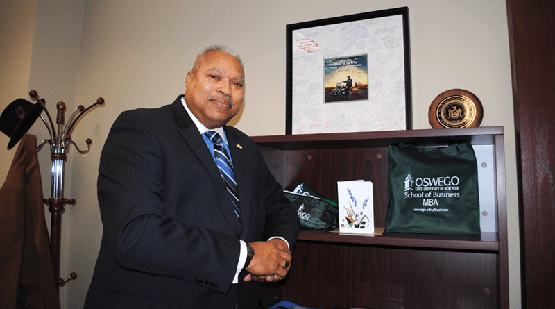 Sam Roberts In his office at SUNY Oswego's Metro Campus in Syracuse. He is now a special adviser to SUNY Oswego President Deborah Stanley for neighborhood and organizational collaborations in the Syracuse and Central New York regions.