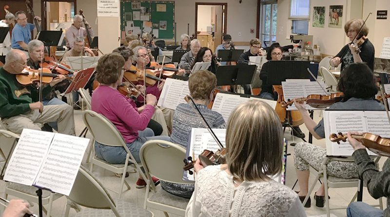 Members of the Salt City New Horizons Orchestra at a recent rehearsal in the United Methodist Church in Fayetteville. During the summer, there are roughly 25 to 30 participants. In the fall, the group typically grows to about 60.