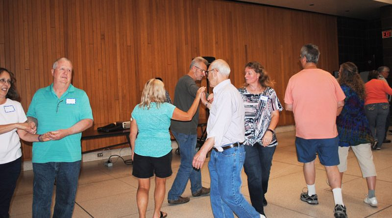 Group of square dancers from Fulton Shirts 'N Skirts gather on a recent Friday night to dance.