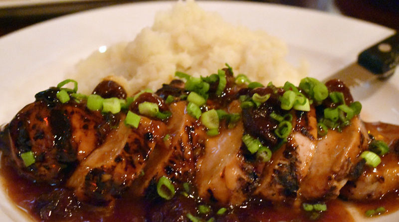 Bourbon pork ($18) at Scenic Root in Manlius comes with mashed potatoes and top-notch cherry glaze on top.
